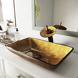 VIGO Rectangular Glass Vessel Bathroom Sink in Copper with Waterfall Faucet Set in Oil Rubbed Bronze