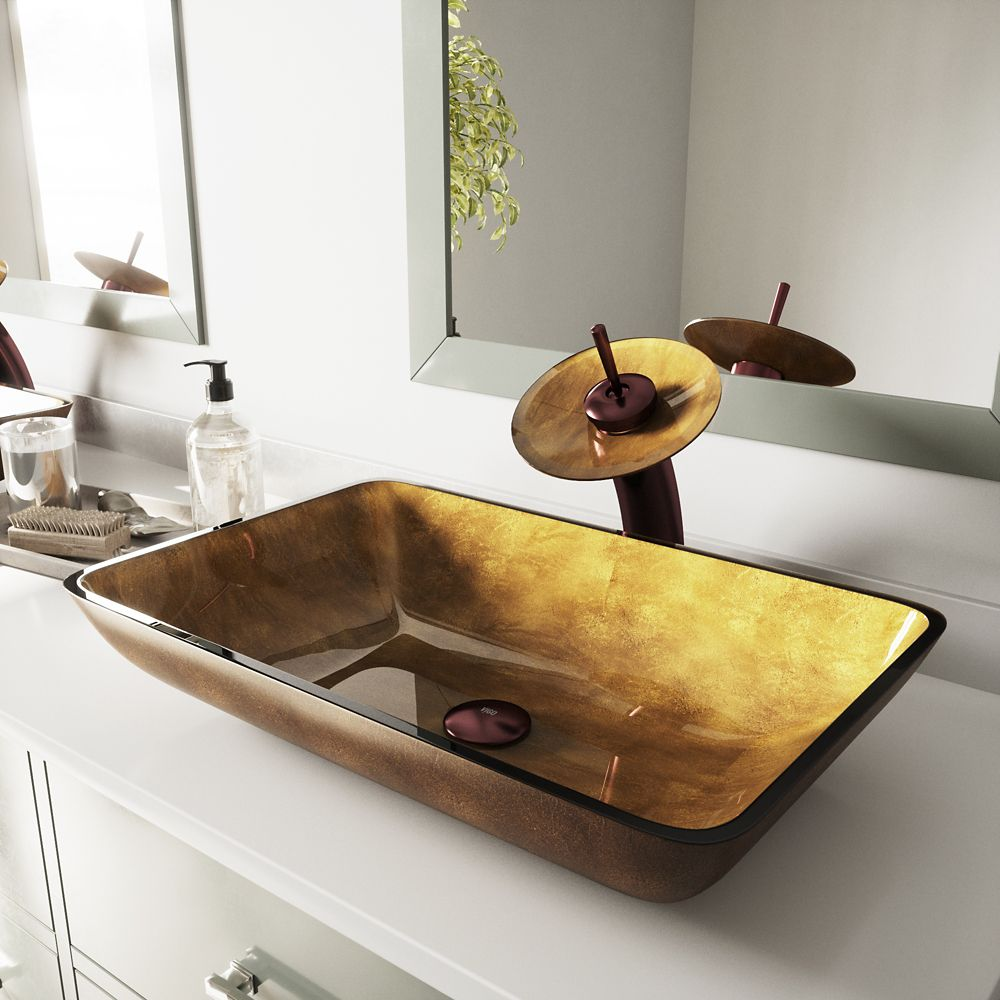 Glass Vessel Sink in Rectangular Copper with Waterfall Faucet in Oil-Rubbed Bronze