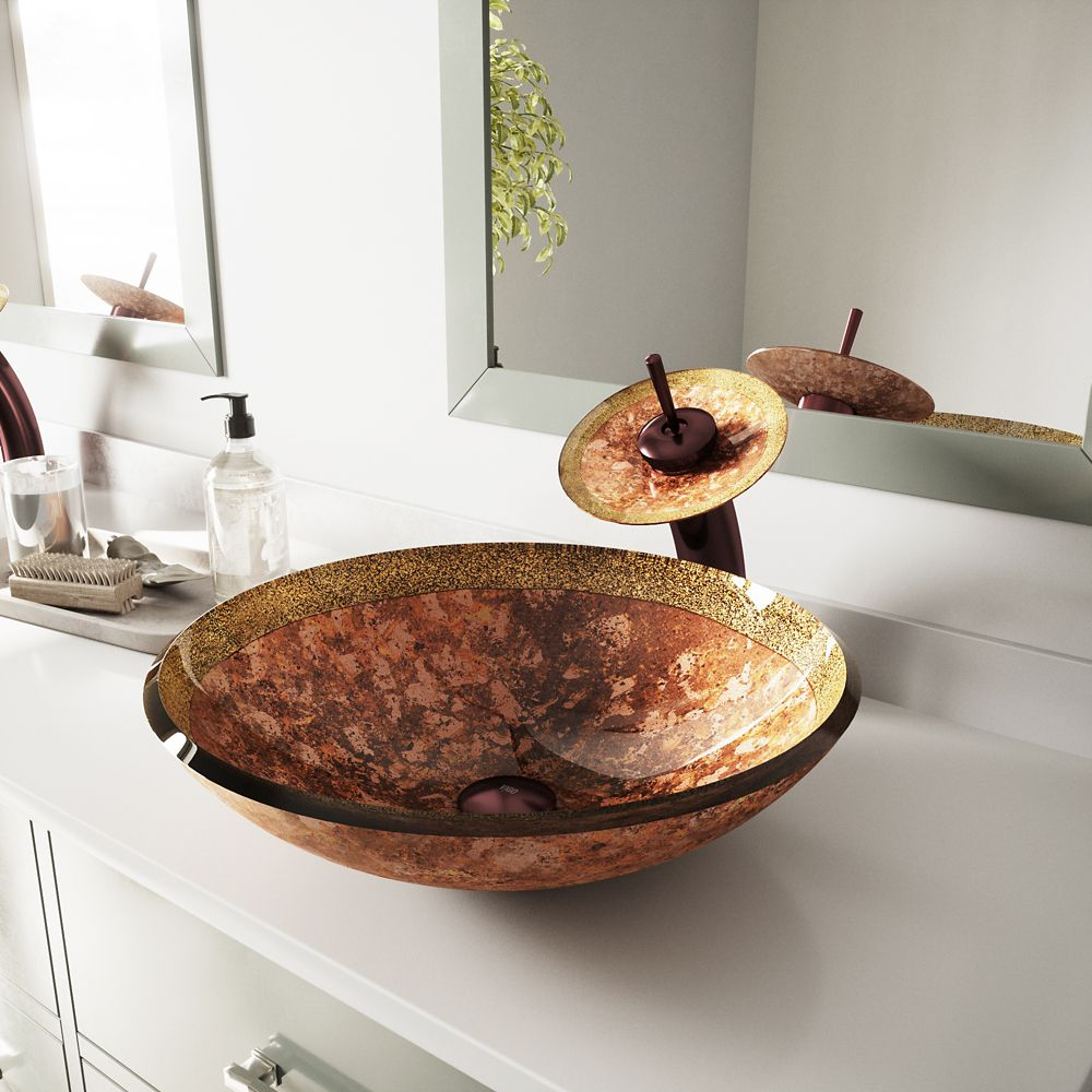 Glass Vessel Sink in Janus with Waterfall Faucet in Oil-Rubbed Bronze