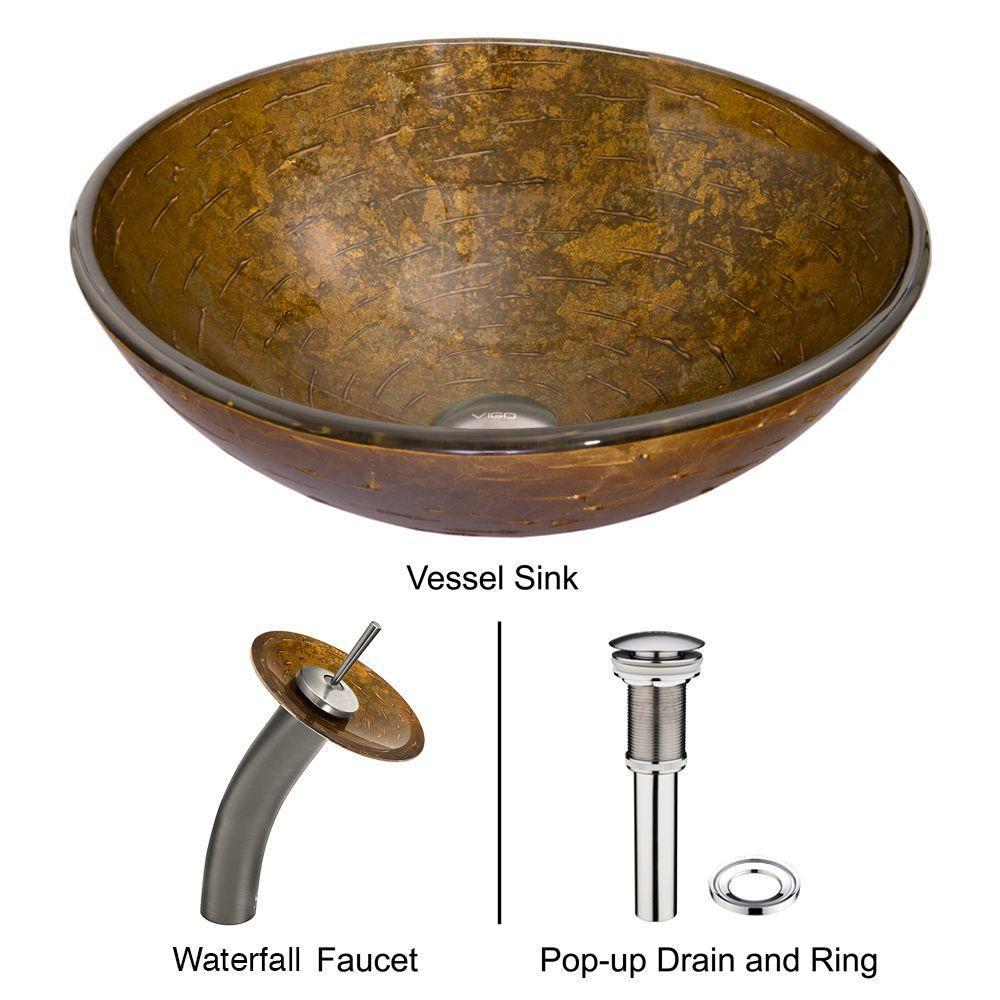 Ensemble  Textured Copper  Lavabo en verre et robinet à cascade en nickel brossé