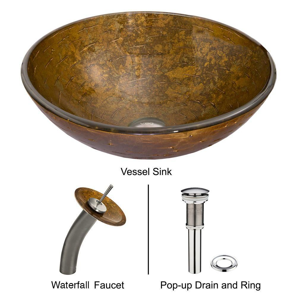 Vigo Glass Vessel Sink in Textured Copper with Waterfall Faucet in Brushed Nickel