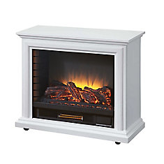Sheridan Mobile Electric Fireplace in White