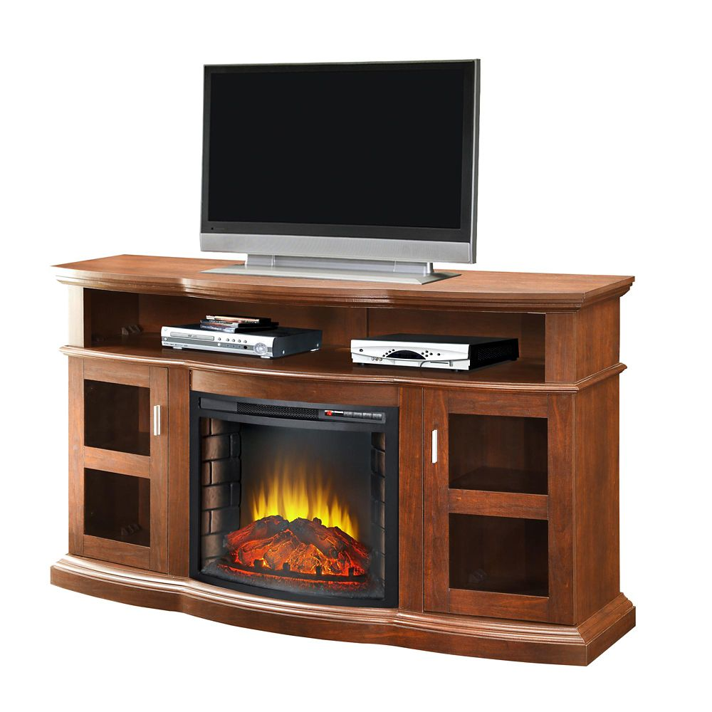 Pleasant Hearth Media Console with 24 Inch Firebox, Cherry Finish