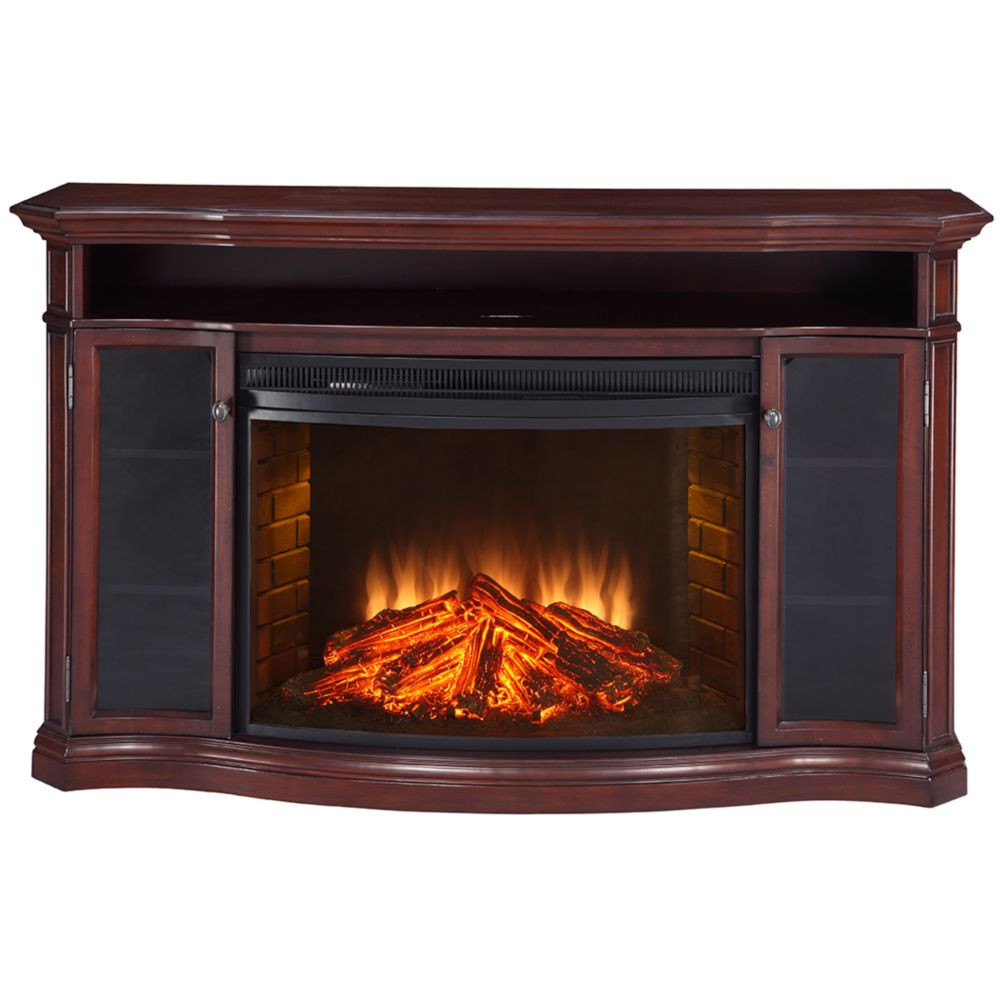 Muskoka Laurel Media Console with 33 Inch Curved Firebox, Cherry Finish