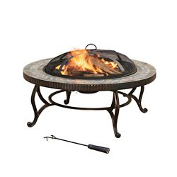Pleasant Hearth Elizabeth 34-inch Round Slate Fire Pit