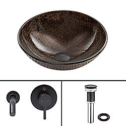 VIGO Glass Vessel Sink in Copper Shield with Olus Wall-Mount Faucet in Antique Rubbed Bronze