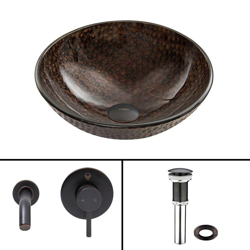 Glass Vessel Sink in Copper Shield with Olus Wall-Mount Faucet in Antique Rubbed Bronze