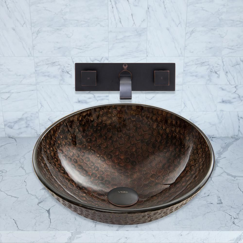 Glass Vessel Sink in Copper Shield with Titus Wall-Mount Faucet in Antique Rubbed Bronze