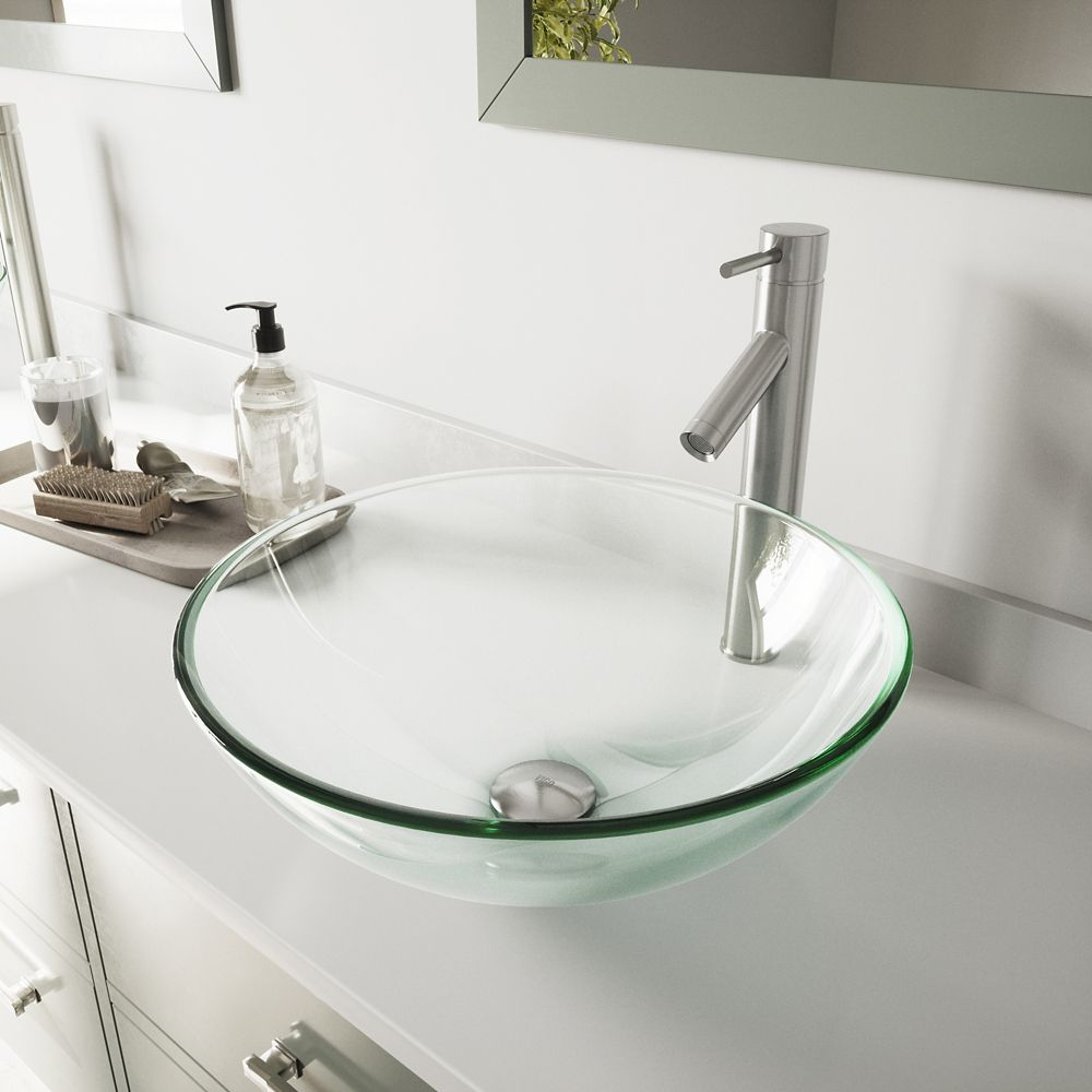 Glass Vessel Sink in Crystalline with Dior Vessel Faucet in Brushed Nickel