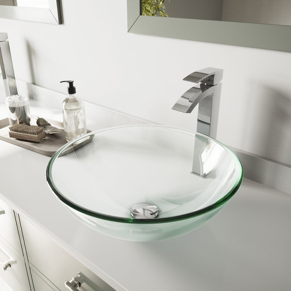 Glass Vessel Sink in Crystalline with Duris Vessel Faucet in Chrome