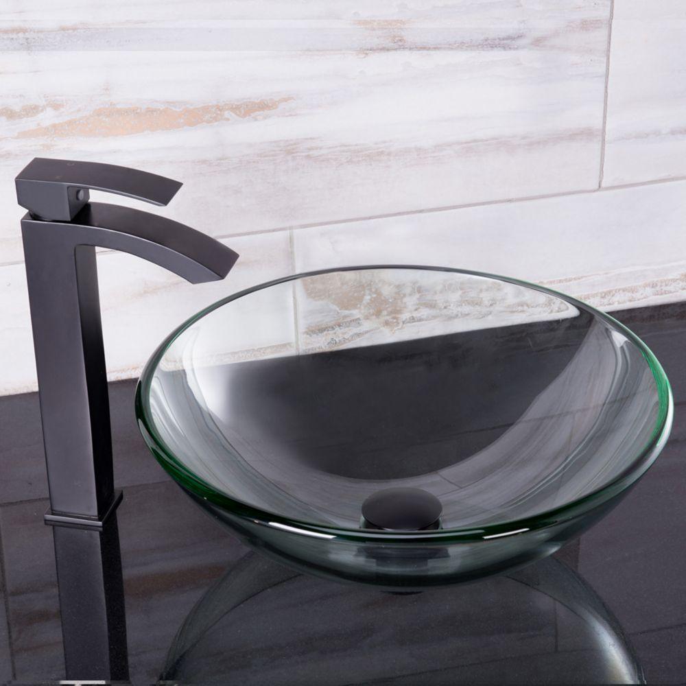 Ensemble Crystalline Lavabo en verre et robinet Duris noir mat