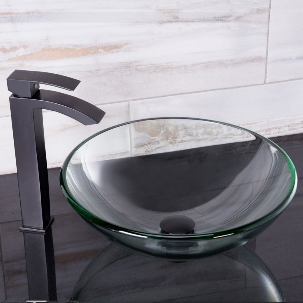 Vigo Glass Vessel Sink in Crystalline with Duris Vessel Faucet in Matte Black