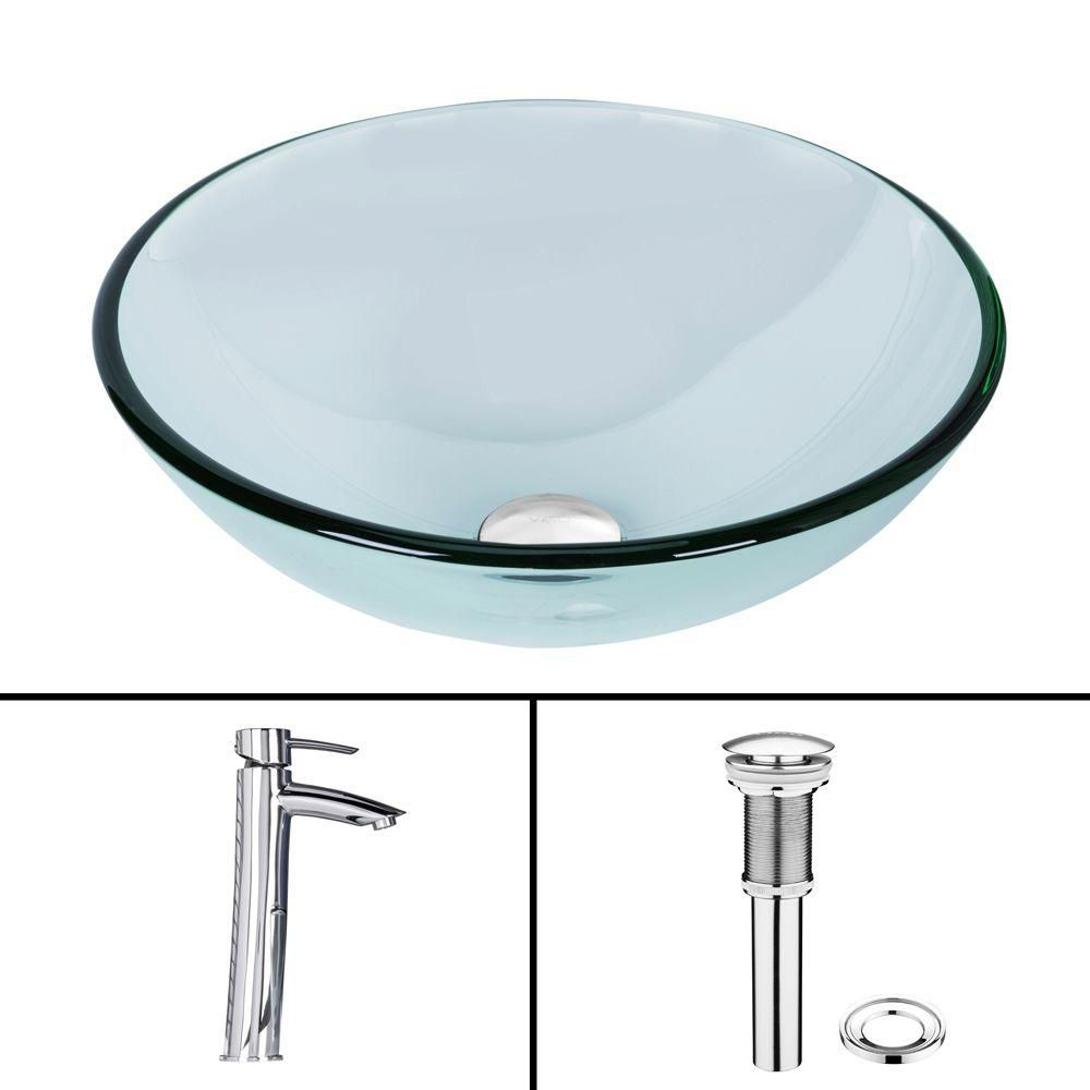 Glass Vessel Sink in Crystalline with Shadow Vessel Faucet in Chrome