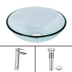 VIGO Glass Vessel Sink in Crystalline with Shadow Vessel Faucet in Chrome