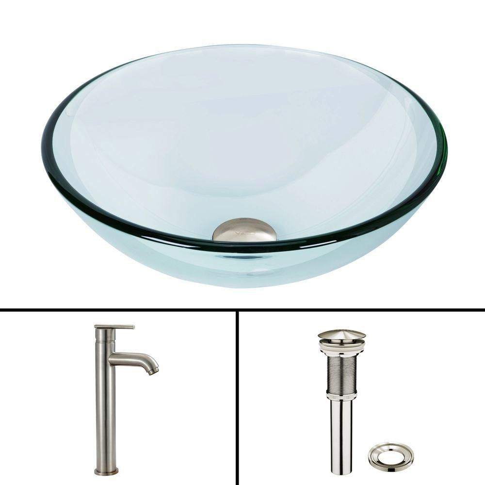 Glass Vessel Sink in Crystalline with Seville Vessel Faucet in Brushed Nickel
