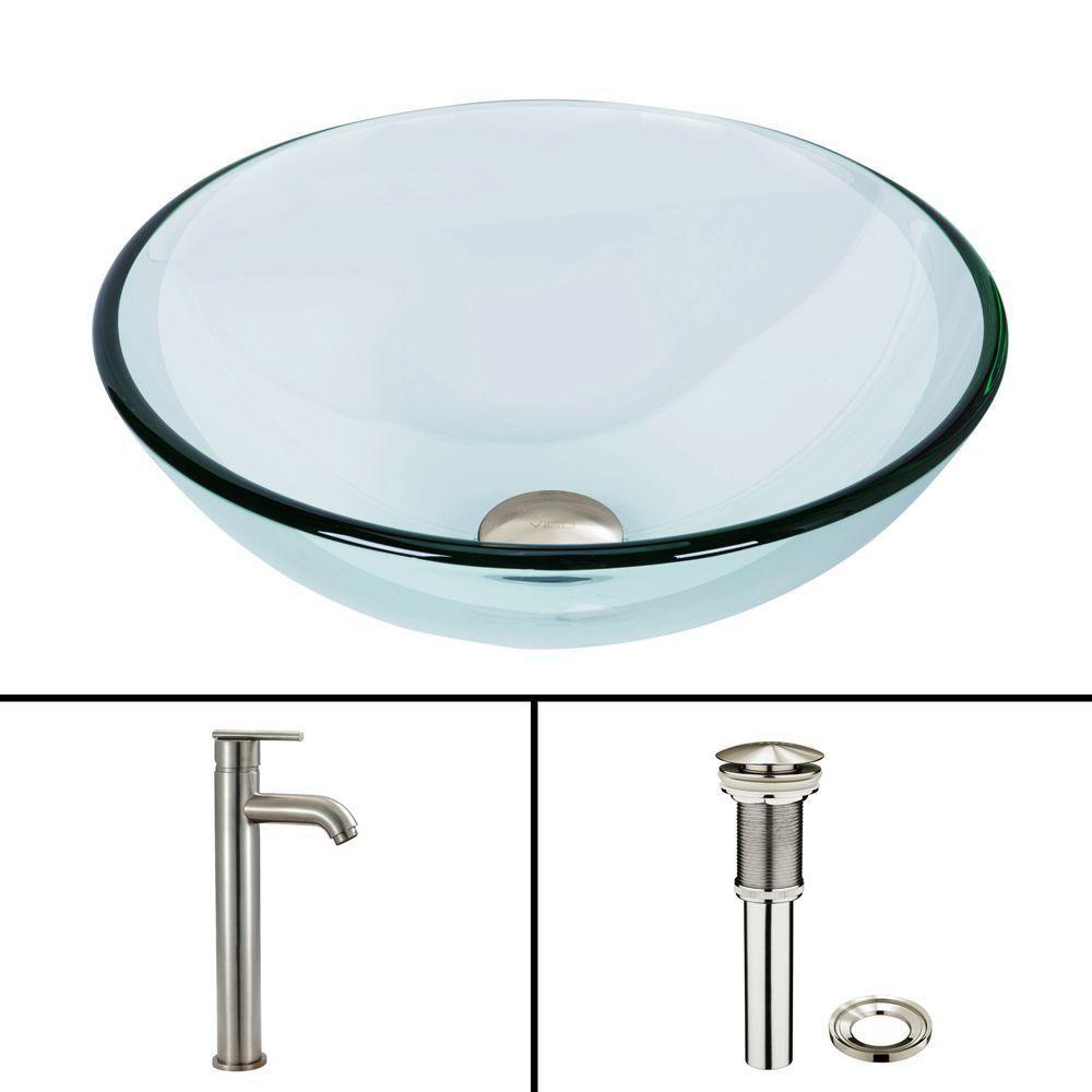 Ensemble Crystalline Lavabo en verre et robinet Seville en nickel brossé