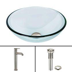 VIGO Glass Vessel Sink in Crystalline with Seville Vessel Faucet in Brushed Nickel