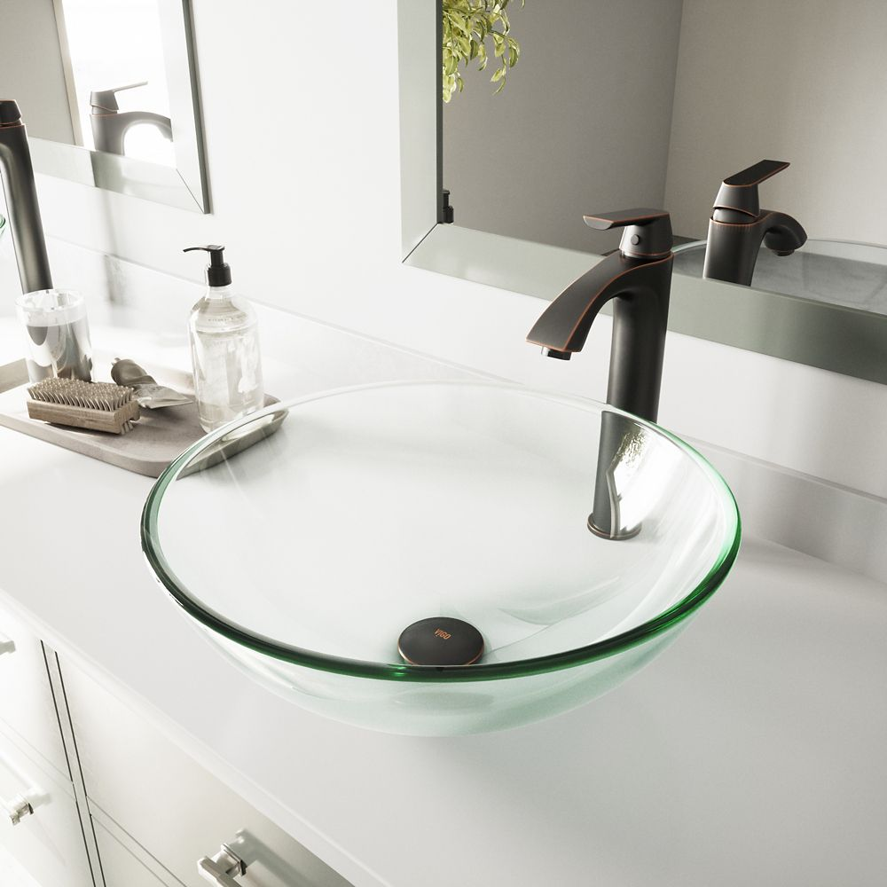 Vigo Glass Vessel Sink in Crystalline with Linus Vessel Faucet in Antique Rubbed Bronze
