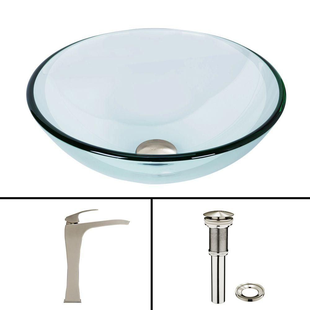 Glass Vessel Sink in Crystalline with Blackstonian Vessel Faucet in Brushed Nickel