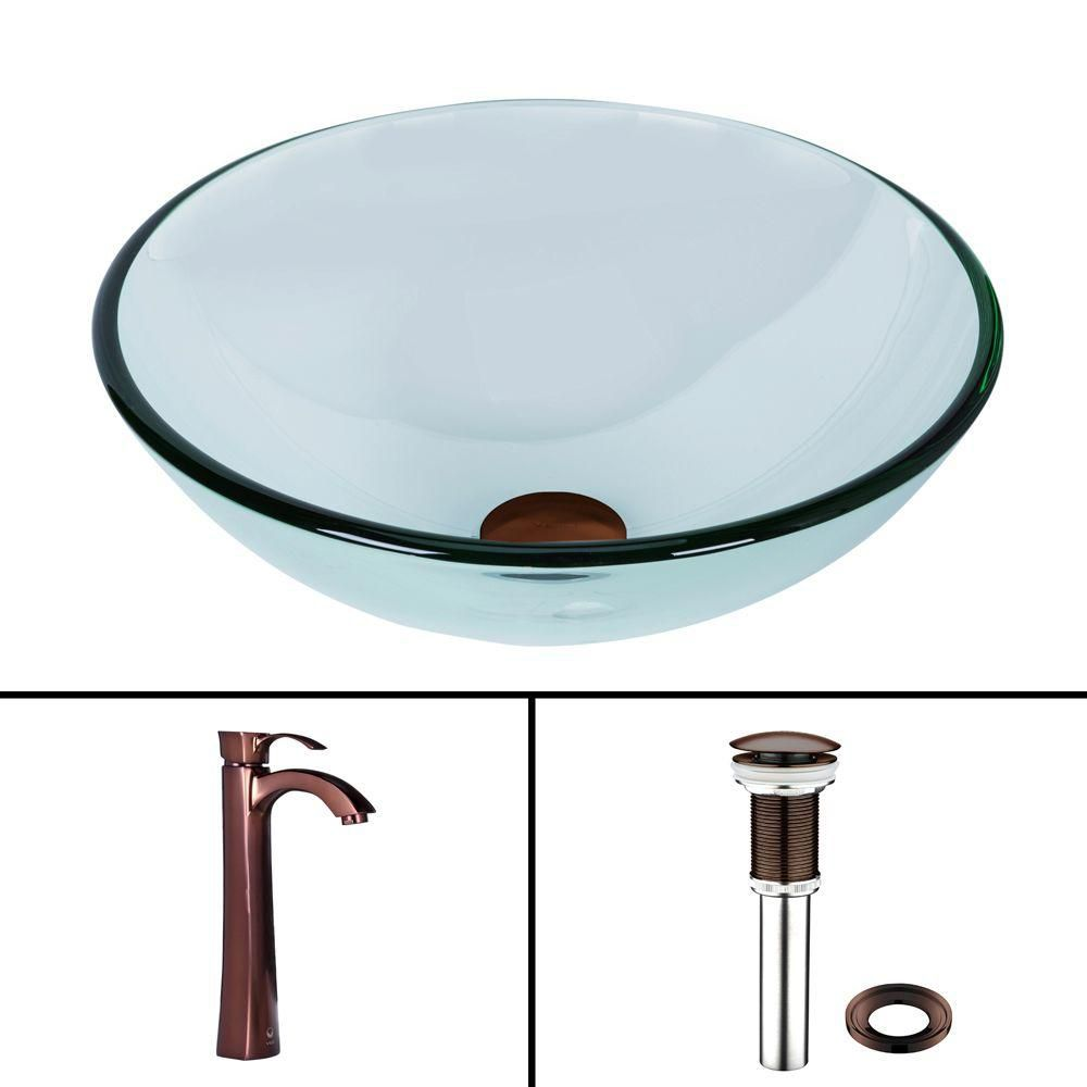 Vigo Glass Vessel Sink in Crystalline with Otis Vessel Faucet in Oil-Rubbed Bronze