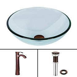 Vigo Glass Vessel Sink in Crystalline with Otis Vessel Faucet in Oil-Rubbed Bronze