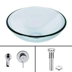 Vigo Glass Vessel Sink in Crystalline with Olus Wall-Mount Faucet in Chrome