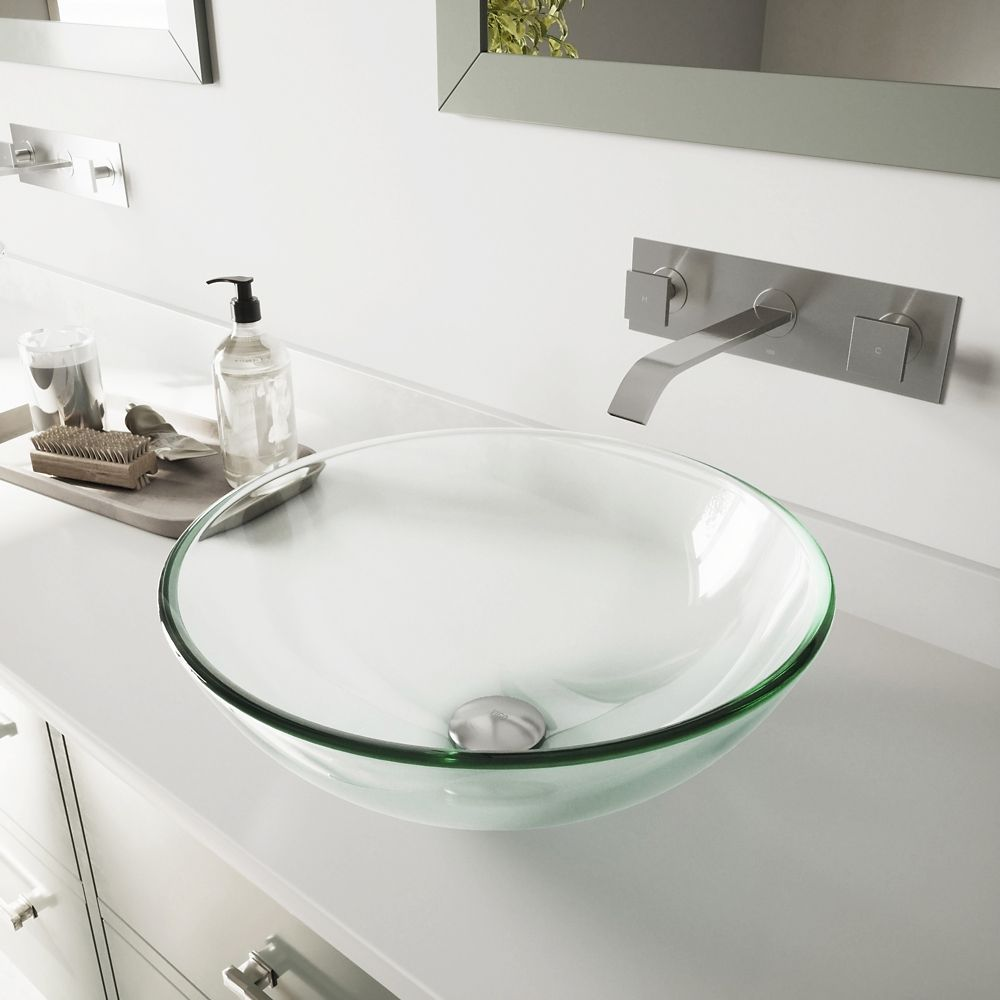 Glass Vessel Sink in Crystalline with Titus Wall-Mount Faucet in Brushed Nickel