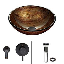 VIGO Glass Vessel Sink in Amber Sunset with Olus Wall-Mount Faucet in Antique Rubbed Bronze