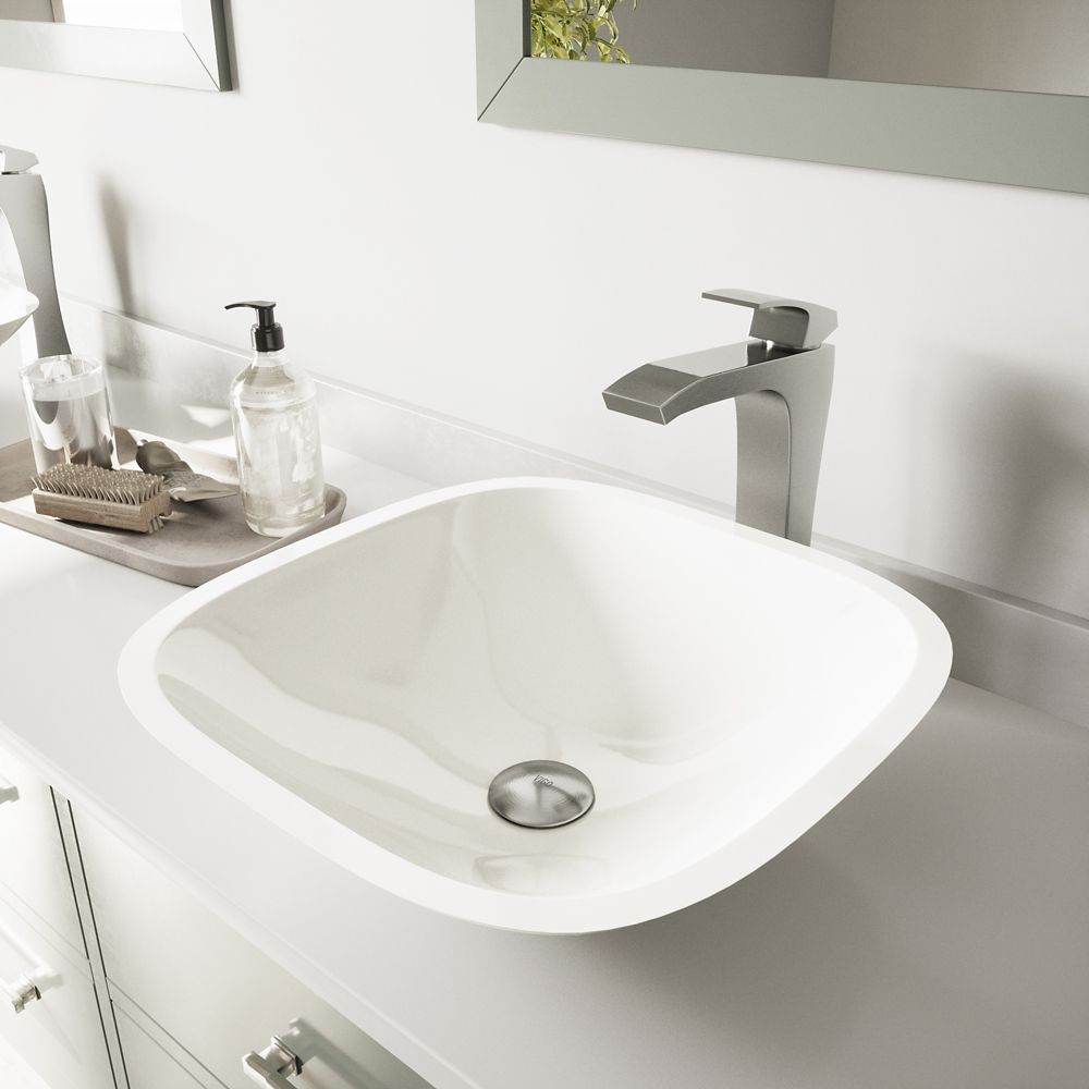 Square Stone Vessel Sink in White Phoenix with Blackstonian Faucet in Brushed Nickel