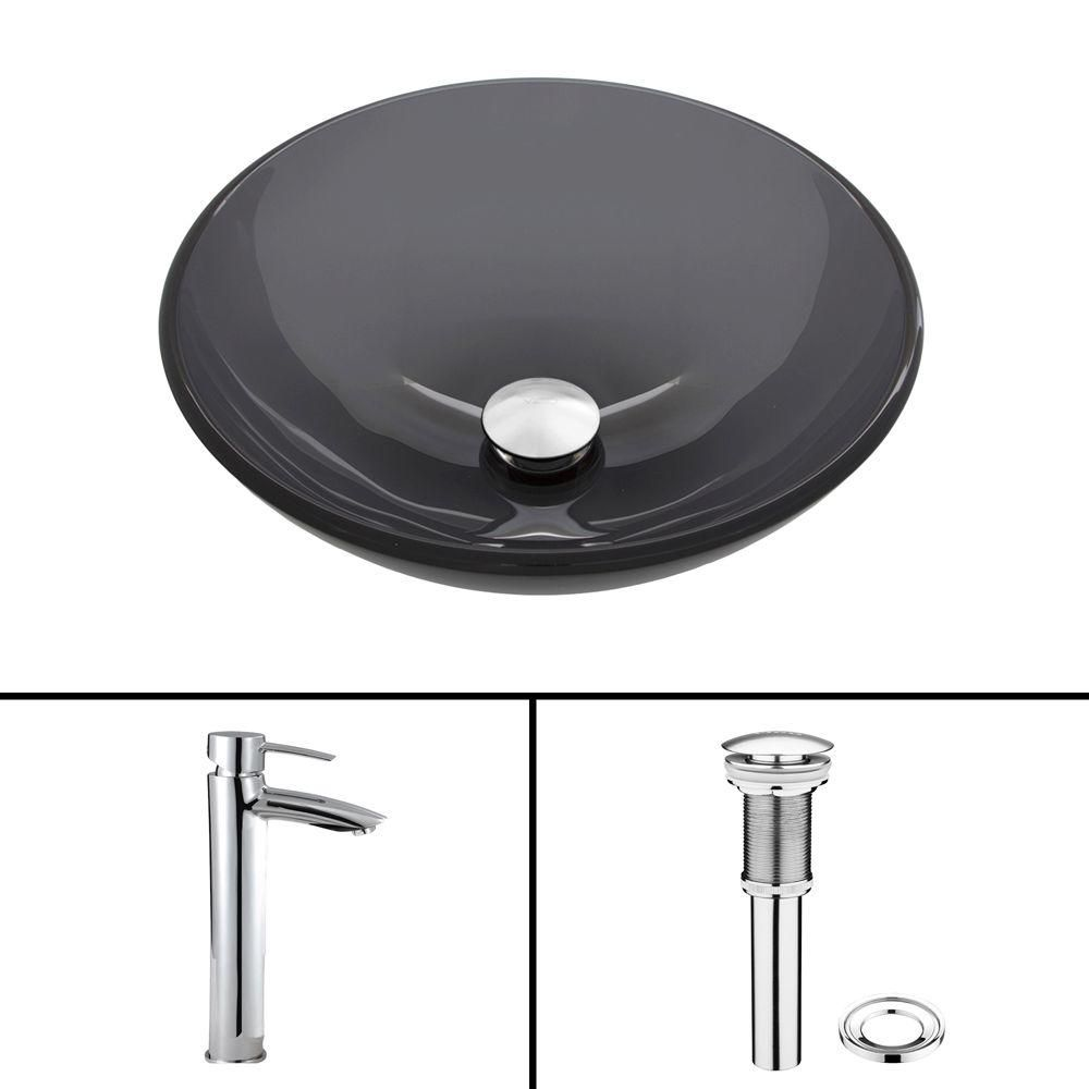 Glass Vessel Sink in Sheer Black with Shadow Faucet in Chrome