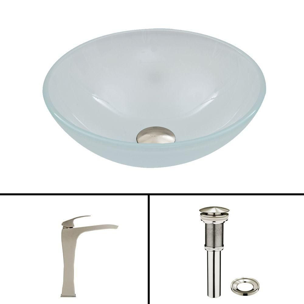 Glass Vessel Sink in White Frost with Blackstonian Faucet in Brushed Nickel