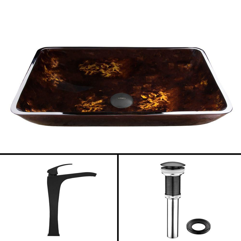 Matte Black Rectangular Brown and Gold Fusion Glass Vessel Sink and Blackstonian Faucet Set VGT910 Canada Discount