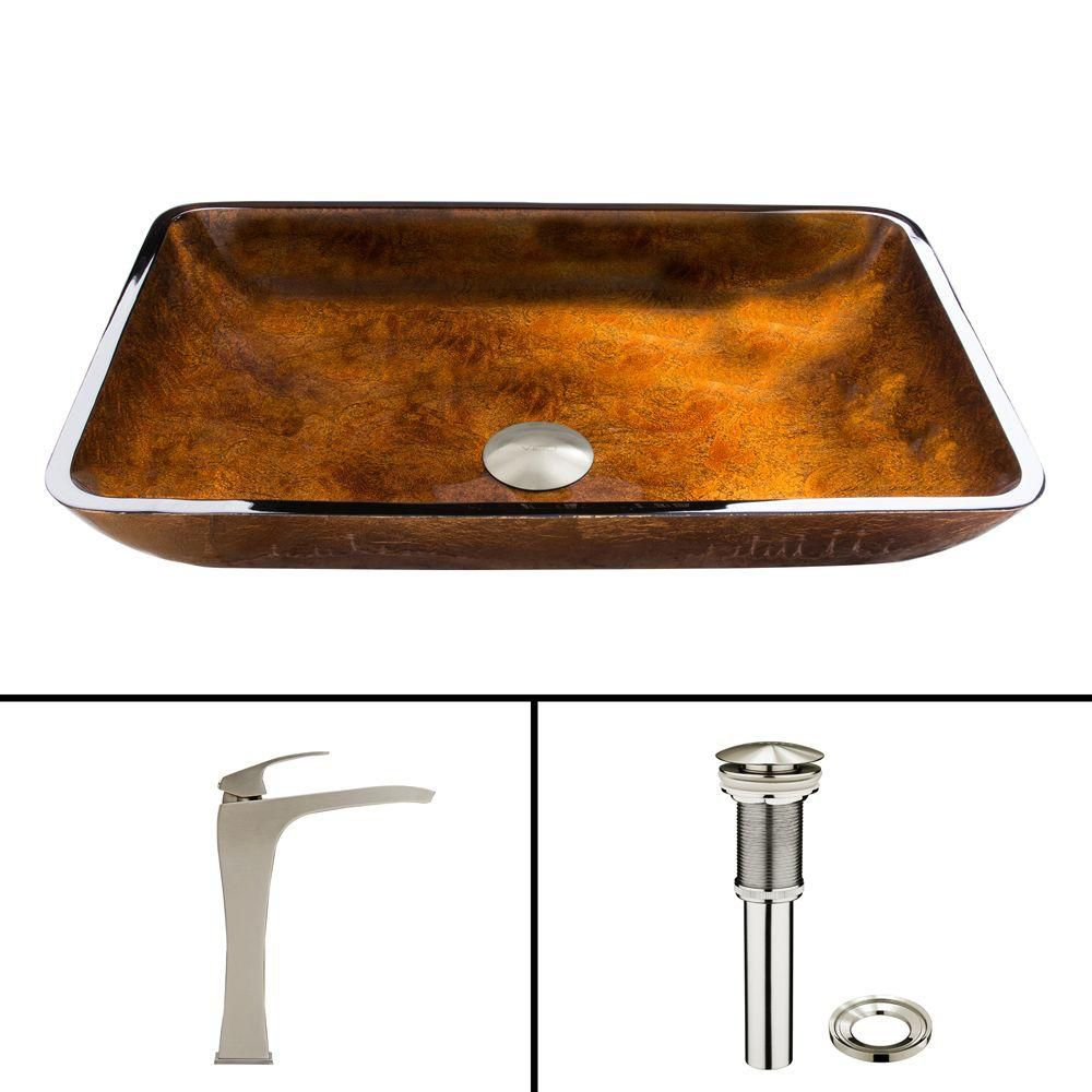 Glass Vessel Sink in Rectangular Rusin with Blackstonian Faucet in Brushed Nickel