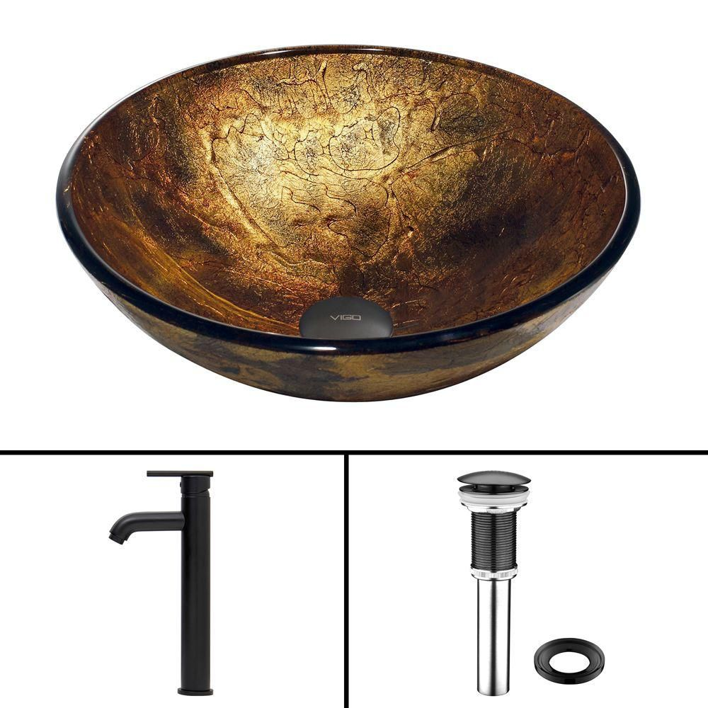 Glass Vessel Sink in Copper Shapes with Seville Faucet in Matte Black