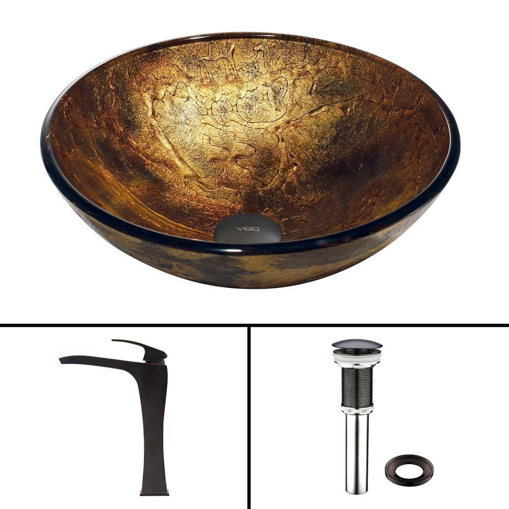 Glass Vessel Sink in Copper Shapes with Blackstonian Faucet in Antique Rubbed Bronze