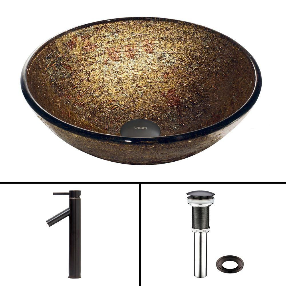 Glass Vessel Sink in Textured Copper with Dior Faucet in Antique Rubbed Bronze