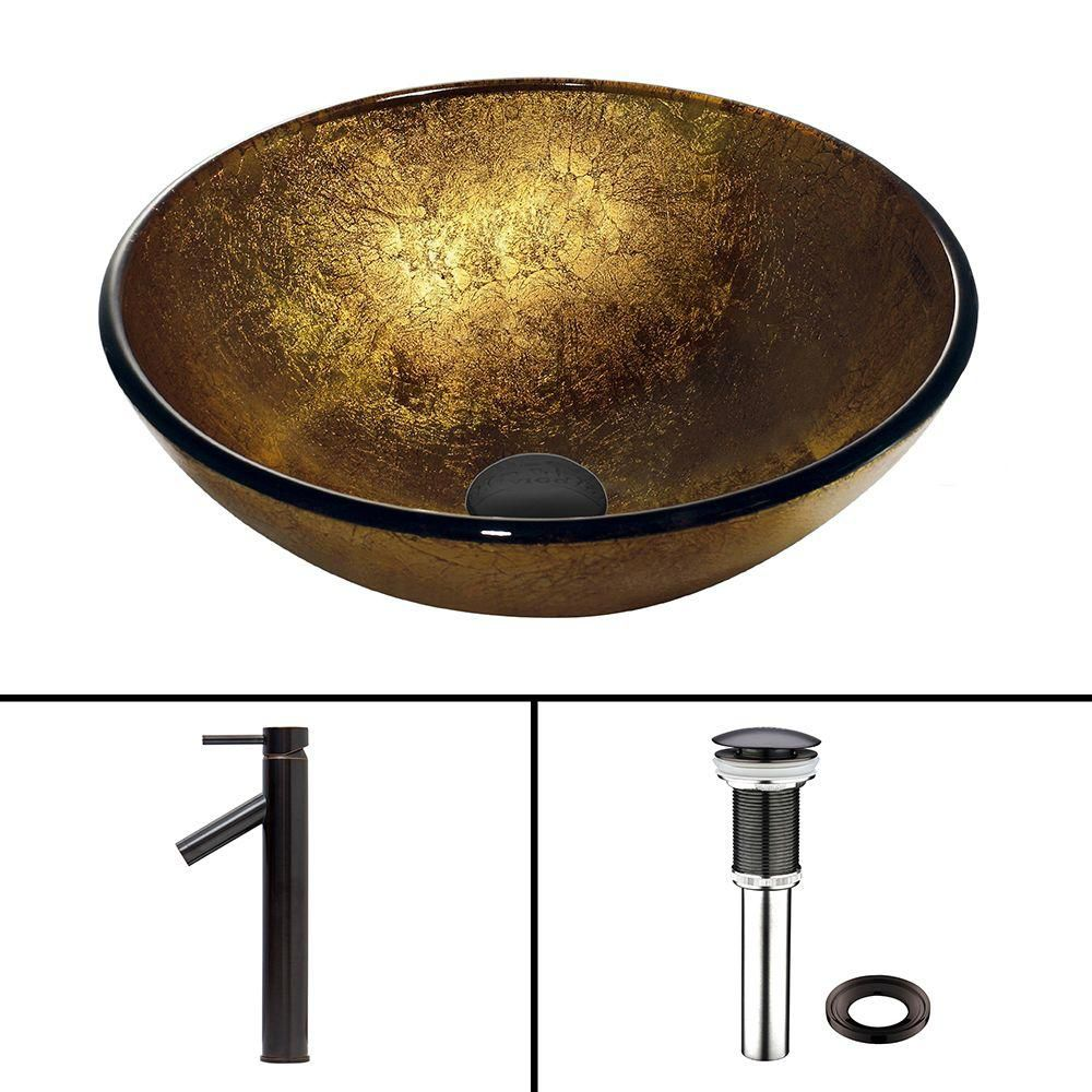 Glass Vessel Sink in Liquid Gold with Dior Faucet in Antique Rubbed Bronze