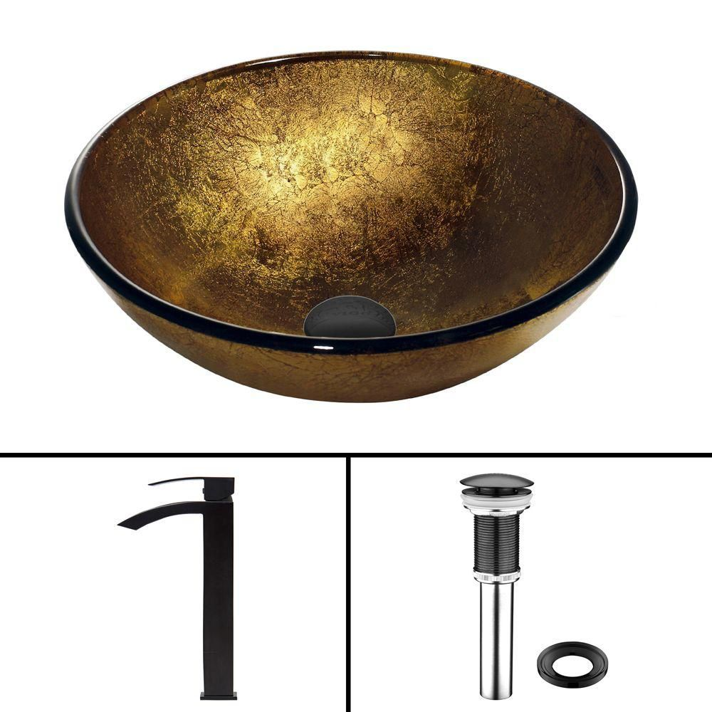 Glass Vessel Sink in Liquid Gold with Duris Faucet in Matte Black
