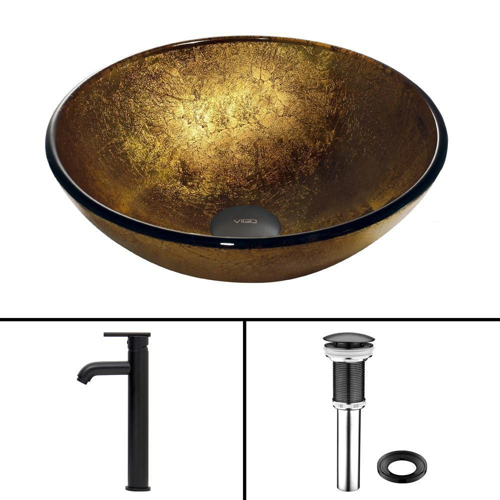 Glass Vessel Sink in Liquid Gold with Seville Faucet in Matte Black