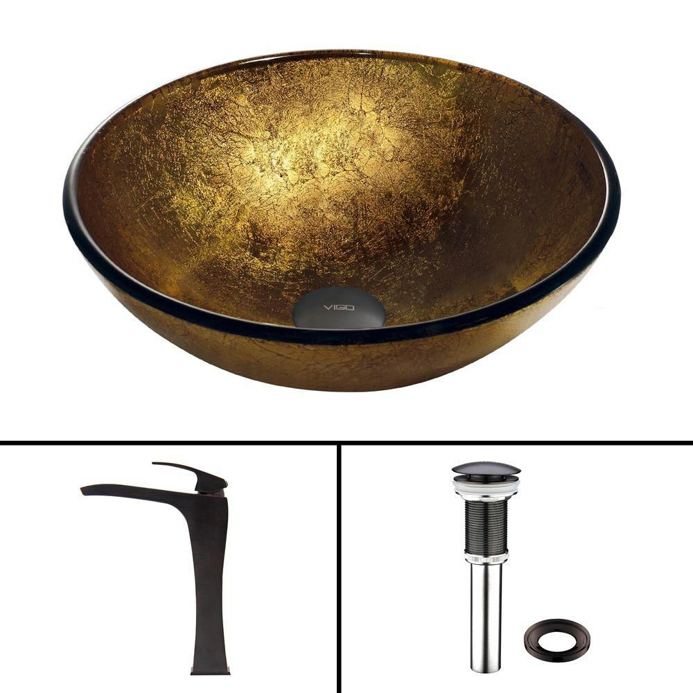 Vigo Glass Vessel Sink in Liquid Gold with Blackstonian Faucet in Antique Rubbed Bronze