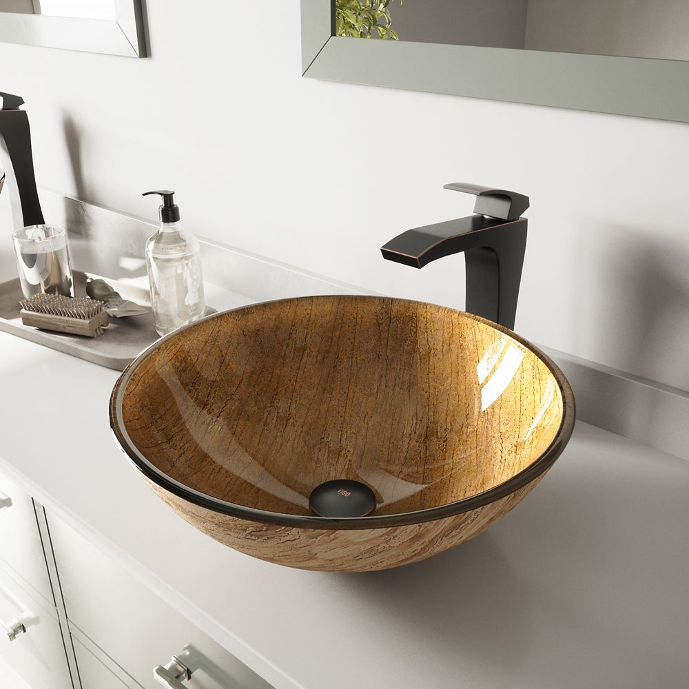 Glass Vessel Sink in Amber Sunset with Blackstonian Faucet in Antique Rubbed Bronze