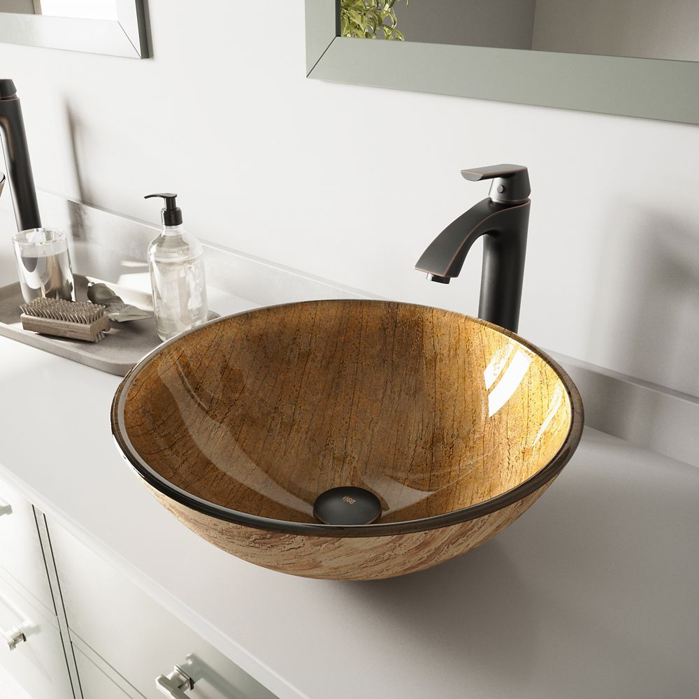 Vigo Glass Vessel Sink in Amber Sunset with Linus Faucet in Antique Rubbed Bronze