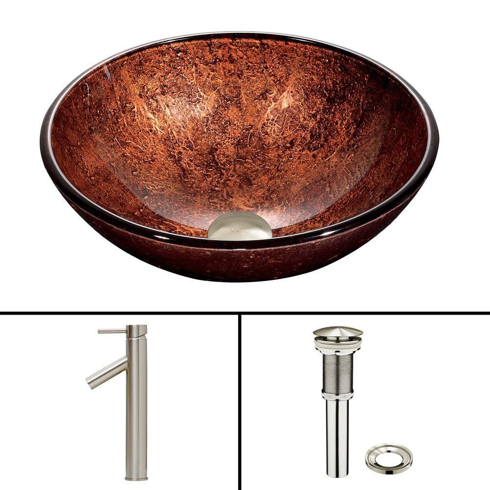 Glass Vessel Sink in Mahogany Moon with Dior Faucet in Brushed Nickel