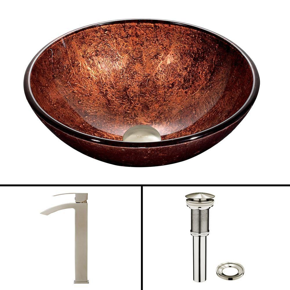 Glass Vessel Sink in Mahogany Moon with Duris Faucet in Brushed Nickel