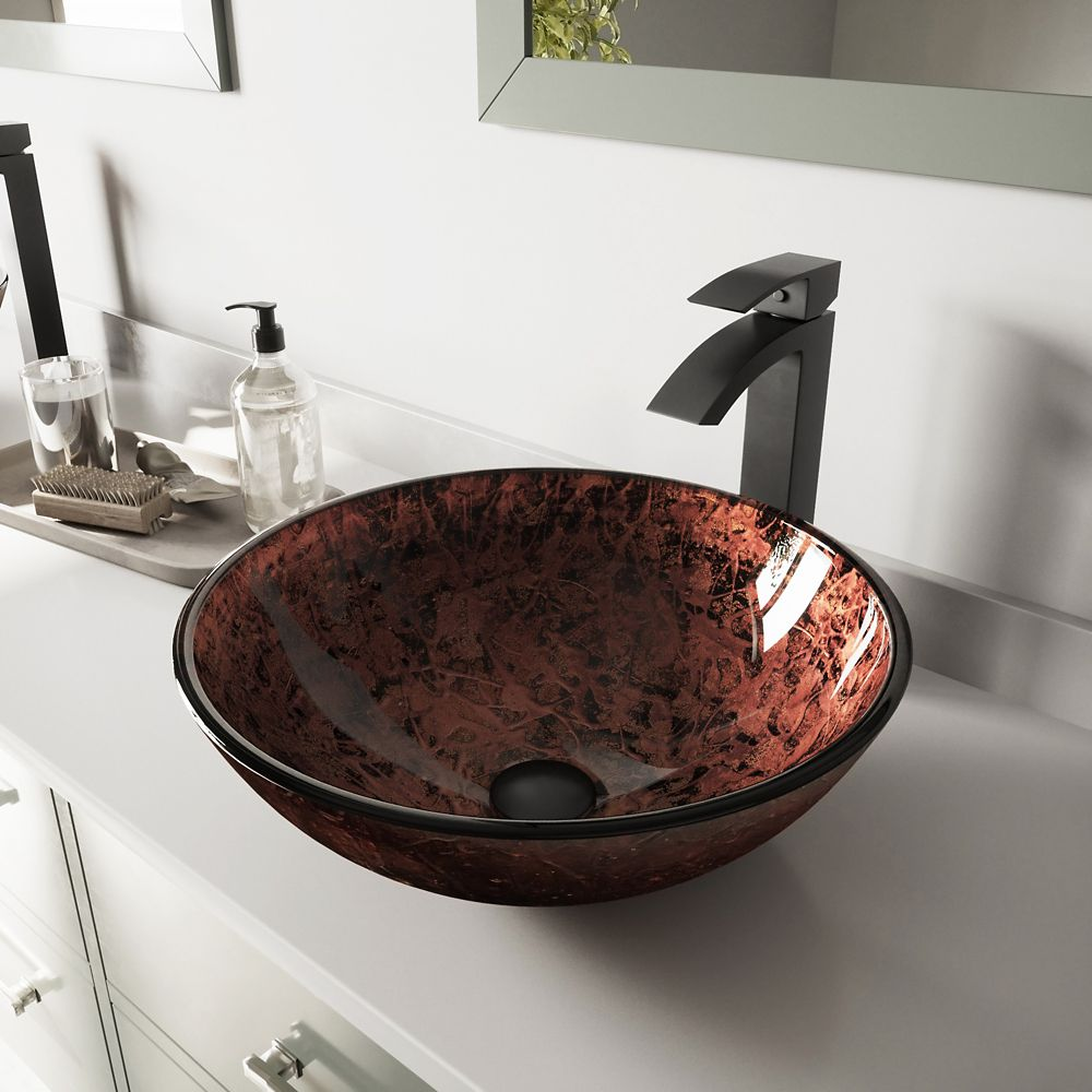Glass Vessel Sink in Mahogany Moon with Duris Faucet in Matte Black