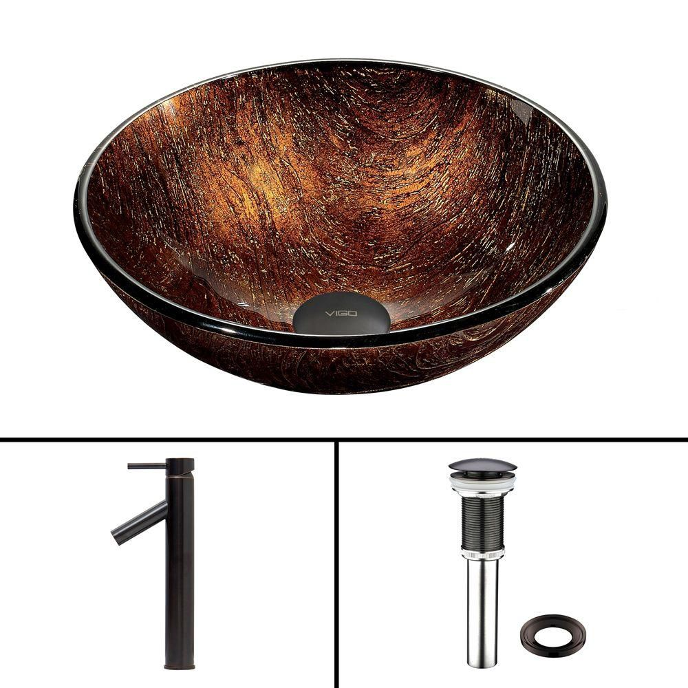 Vigo Glass Vessel Sink in Kenyan Twilight with Dior Faucet in Antique Rubbed Bronze