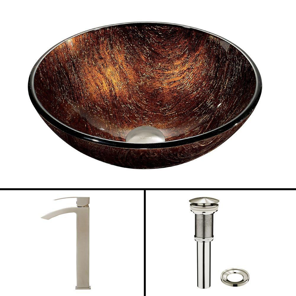 Vigo Glass Vessel Sink in Kenyan Twilight with Duris Faucet in Brushed Nickel