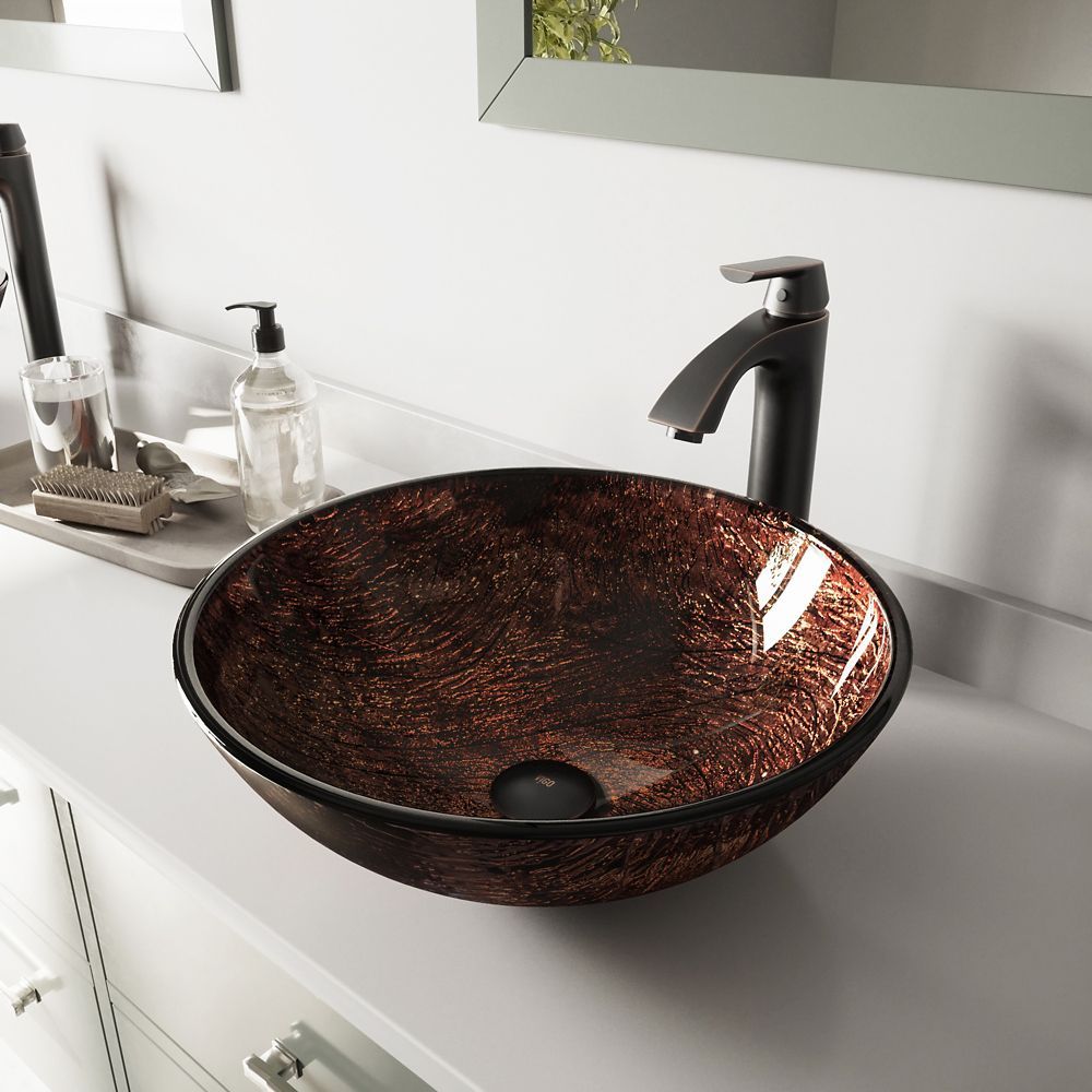 Glass Vessel Sink in Kenyan Twilight with Linus Faucet in Antique Rubbed Bronze
