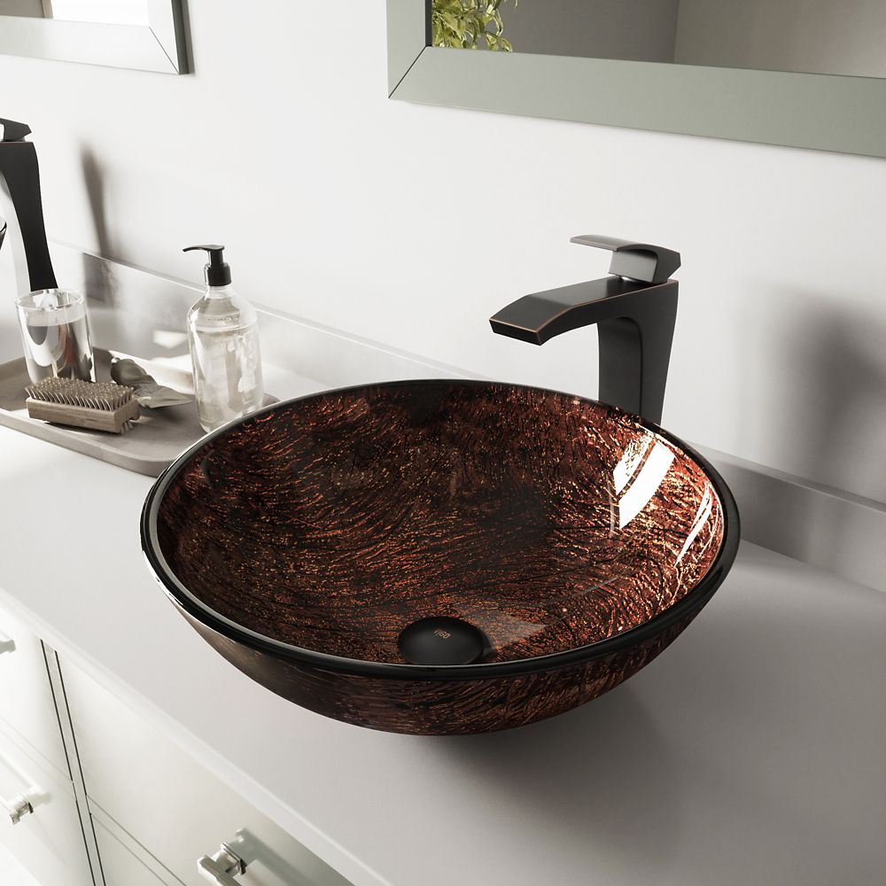 Glass Vessel Sink in Kenyan Twilight with Blackstonian Faucet in Antique Rubbed Bronze