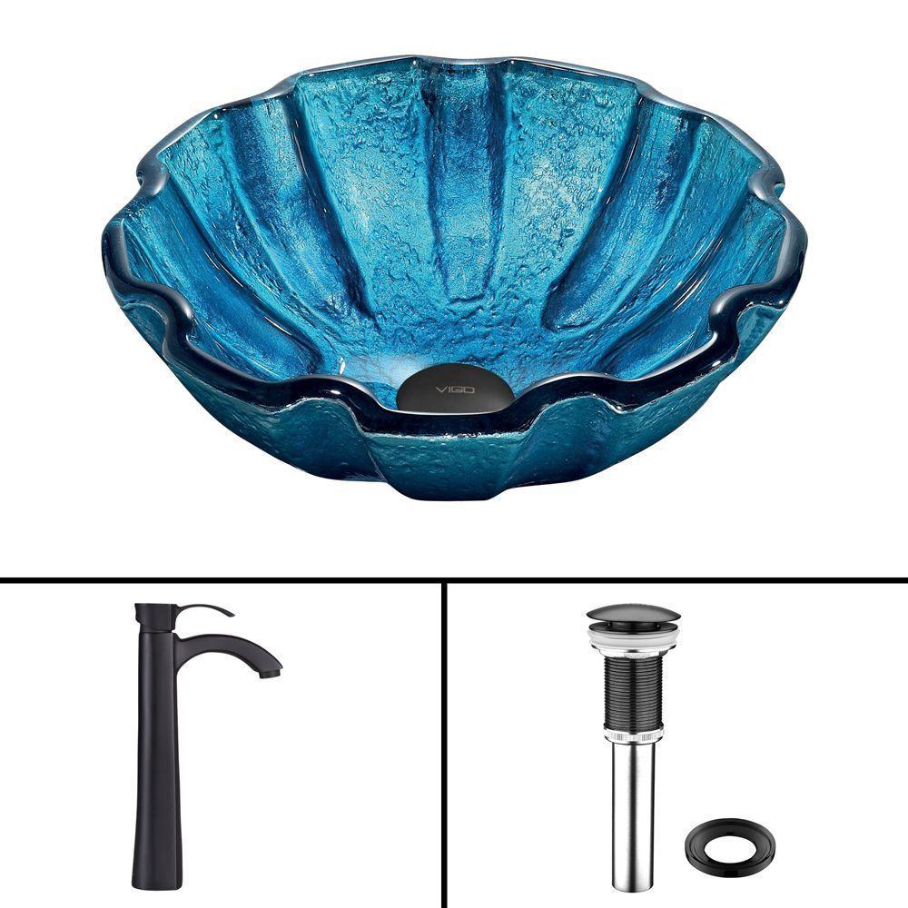 Vigo Glass Vessel Sink in Mediterranean Seashell with Otis Faucet in Matte Black